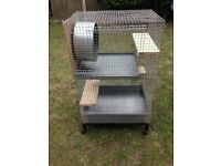 Small mammal cage, steel construction including stainless steel wheel