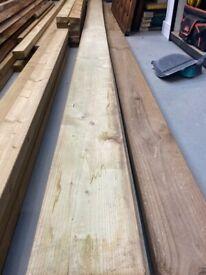 2 x green 4.8 metre long 200 x 47 (8 x 2 inch) timber