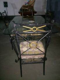 Glass and wrought iron dining table & 4 dining chairs
