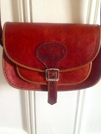 Genuine 100% leather small ladies handbag, long strap, buckle fastening, brown.