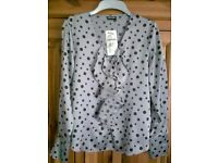LADIES GERRY WEBER LONG SLEEVE SILVER GREY SPOT BLOUSE, SIZE 10, RRP £60, BRAND NEW WITH TAGS