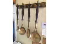 Ornate Brass and Wood hanging seeing set