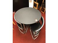 Milan space saver dining table and 4 chairs - black