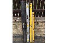3 quality spirit levels,2x120cm & 1x100cm,no offers/time wasters plz,bargain at just £45