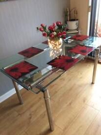 Glass extending dining table NOW REDUCED