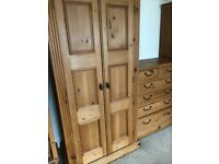 Solid Wood Antique Pine Wardrobe in Great Condition
