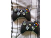 Xbox 360 black controlers x2