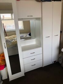 3 piece white wardrobe