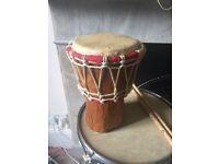 Mini Djembe for sale - solid wood, genuine skin