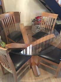Glass Circular Table and 4 x Dining Chairs