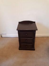 Vintage wooden 3 drawer bedside table