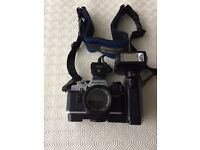 Olympus OM10 SLR Camera with Bag and Accessories