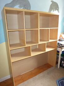 Large wooden Ikea shelving Unit.