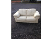 Ivory Leather 2 Seater Settee (Used Condition)