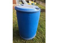 2 x Heavy Duty Plastic Drums / Barrels & Lids