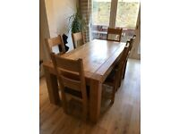 Solid oak 6-person dining table with chairs