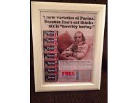 beautiful BRIAN ENO framed CAT FOOD advert print! 48 x 38 cm