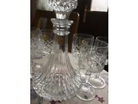 Glass decanter and glasses