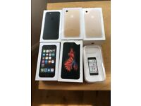 6 iPhone boxes.3x iPhone 7.1x iPhone 5s. 1x IPhone 5c.1 x iPhone 6s.bit damaged 6s box.£30 for all