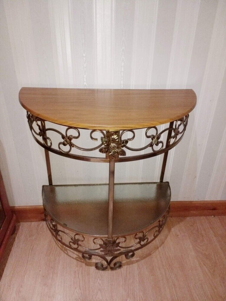 Small Demi Lune Hall Table Brass Gold Half Moon Table In