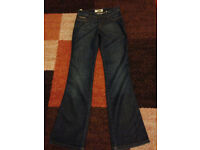 Ladies MOSCHINO Donna Dark Bootcut Jeans Size 27 long length New will post