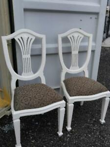 Oakville 2 SHABBY CHIC DINING CHAIRS White French Country Upholstery Seats Fancy Backs Matching Set of 2