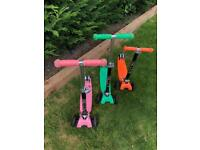 3 x iScoot pro, children's adjustable height scooter