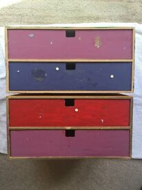 2 x wooden box with drawers