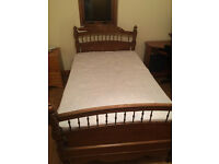 Beautiful antique (19th century) solid Oak bed complete with mattress