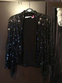 Black sequinned waterfall jacket