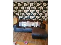 3 seater leather chaise sofa.