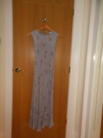 Elegant Long Lilac Dress by Principles with Crocheted Cardigan, size 10