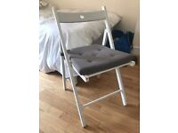 IKEA white TERJE Folding chair with cushion