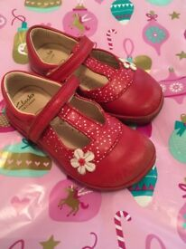 CLARKS FIRST SHOES - Red with polka dot and flower detail - size 6.5F