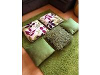 Cushions, and rug accessory bundle (lime green)