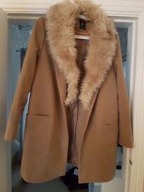 Primark coat with fur collar size 16
