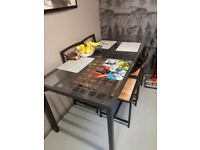 Glass top table 4 chairs