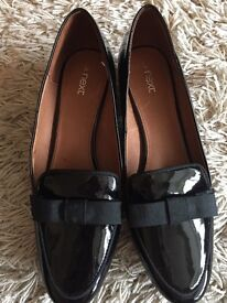 Ladies Next Black Patent Loafers Size 6.5 (40)