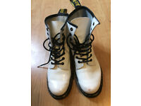 Dr Martens White Patent Boots-Size 6