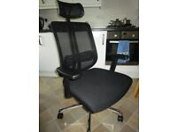 Mesh High Back Padded Swivel Office Chair with Arm Rests, Height Adjustable and Head Support - Black