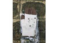 New cream/brown 3 in 1 gloves with pearls and sequin pattern