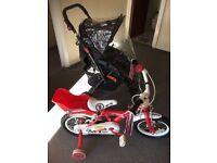 baby stroller and girl's pom pom bike