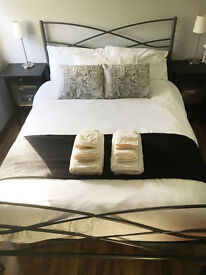 Metal Frame Double Bed with Mattress - Excellent Condition/Barely Used