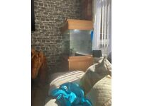 Aqua one solid oak tank gravel included no filter or heater tank and stand o my