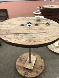 Cable drum reel tops for sale, ideal for industrial shabby chic furniture