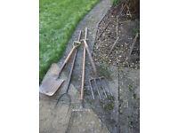 Garden Spade, Very Heavy Duty Fork, Rake & Pitch fork