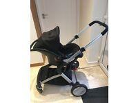 Mothercare Roam Pram & Pushchair Travel System - Black (Excellent Condition) + Isofix Car Seat Base