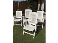 4 X white Recliner chairs very strong