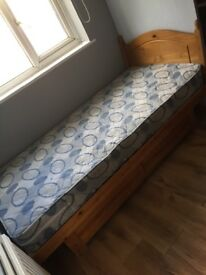 Solid single pine bed with 2 drawers and mattress