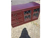 Dark wood sideboard / unit with storage drawers & cupboard
